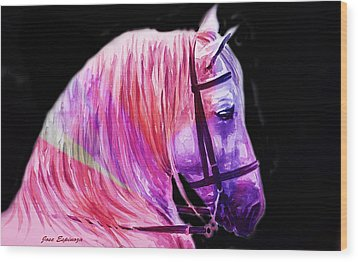 Wood Print featuring the painting Abstract White Horse 56 by J- J- Espinoza