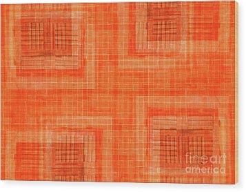Abstract Window On Orange Wall Wood Print by Silvia Ganora