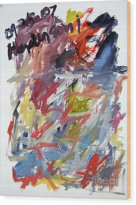Abstract With Black Date Wood Print by Michael Henderson
