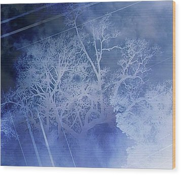 Abstract With Creepy Tree- Ghost Story Wood Print by Kristin Sharpe