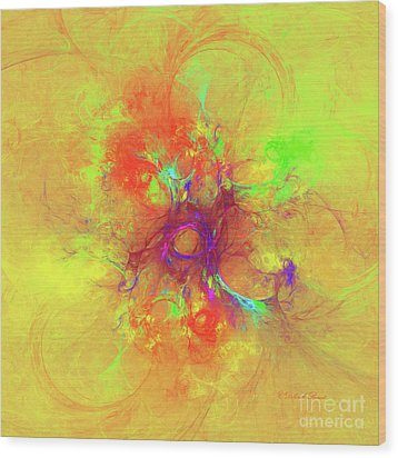 Wood Print featuring the digital art Abstract With Yellow by Deborah Benoit