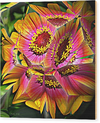 Abstract Yellow Flame Zinnia Wood Print
