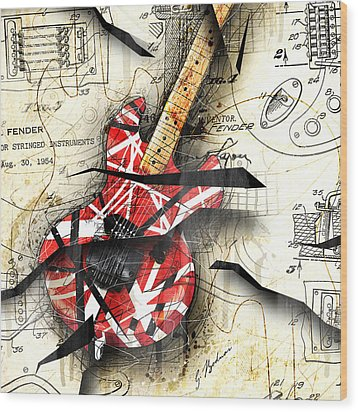 Abstracta 35 Eddie's Guitar Wood Print by Gary Bodnar