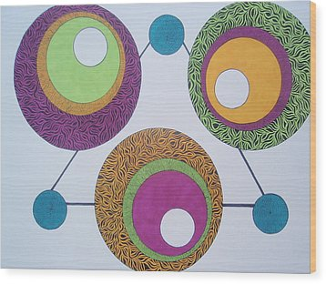 Wood Print featuring the drawing Abstracted Circles by Beth Akerman