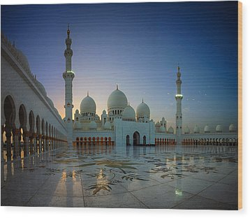 Abu Dhabi Grand Mosque Wood Print