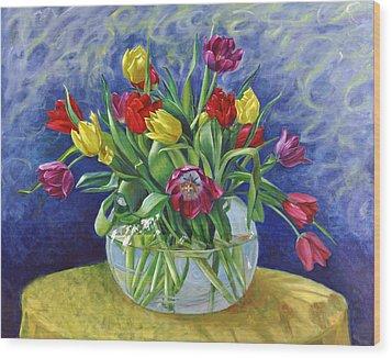 Abundant Tulips Wood Print by Nancy Tilles