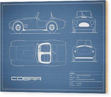 Ac Cobra Blueprint Wood Print by Mark Rogan