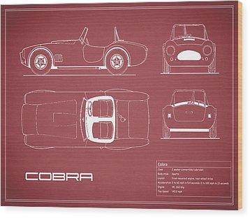Ac Cobra Blueprint - Red Wood Print