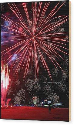 Ac Fireworks Wood Print