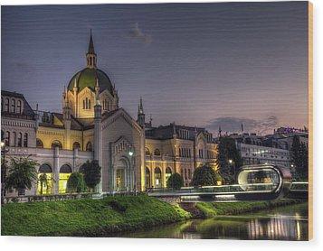 Academy Of Fine Arts, Sarajevo, Bosnia And Herzegovina At The Night Time Wood Print by Elenarts - Elena Duvernay photo