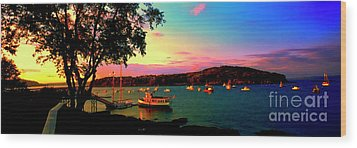 Wood Print featuring the photograph  Acadia Bar Harbor Sunset Cruises by Tom Jelen