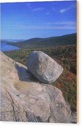 Acadia Bubble Rock Autumn Wood Print by John Burk