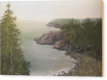 Acadia Maine Morning Mist Wood Print by Ken Ahlering