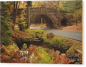 Wood Print featuring the photograph Acadia Stone Bridge by Alana Ranney