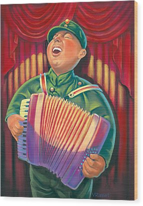 Accordian Player Wood Print by Valer Ian