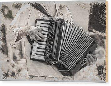 Accordion Player Wood Print by Danuta Bennett