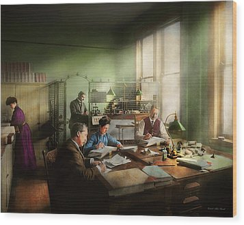 Wood Print featuring the photograph Accountant - The- Bookkeeping Dept 1902 by Mike Savad