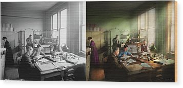 Wood Print featuring the photograph Accountant - The- Bookkeeping Dept 1902 - Side By Side by Mike Savad