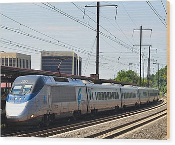 Acela Express Wood Print by Jim Poulos
