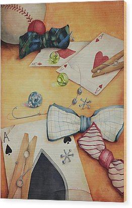 Aces And Jacks Wood Print by Lorraine Ulen
