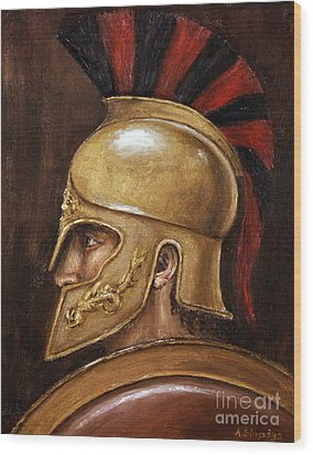 Wood Print featuring the painting Achilles by Arturas Slapsys