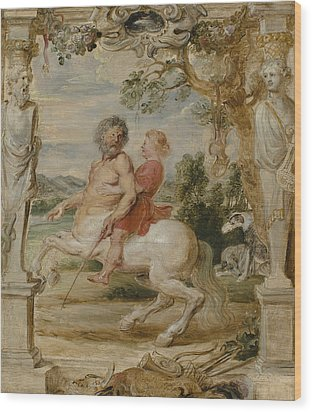 Achilles Educated By The Centaur Chiron Wood Print