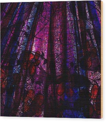 Acid Rain With Red Flowers Wood Print by Rachel Christine Nowicki