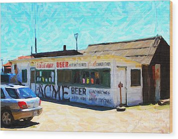 Acme Beer At The Old Lunch Shack At China Camp Wood Print by Wingsdomain Art and Photography