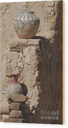 Acoma Pueblo Pottery Wood Print by Debby Pueschel
