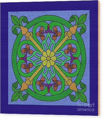 Acorn On Blue Wood Print