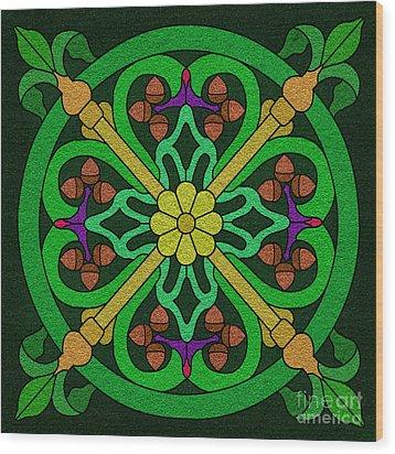 Acorn On Dark Green Wood Print by Curtis Koontz