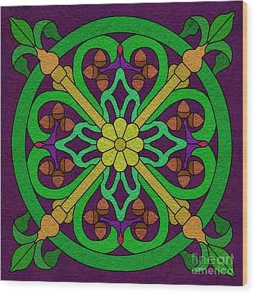 Acorn On Dark Purple 2 Wood Print by Curtis Koontz