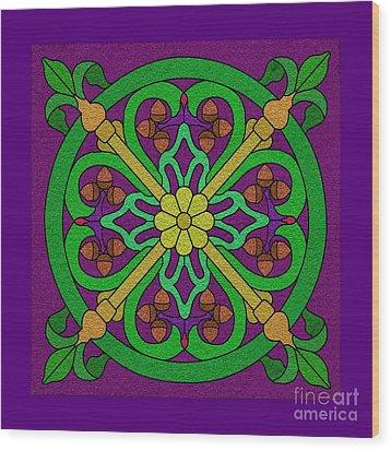 Acorn On Dark Purple Wood Print