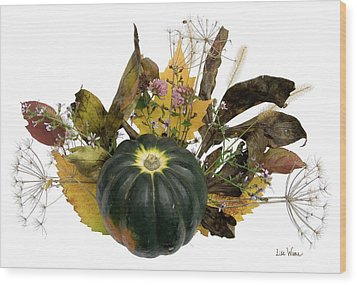 Wood Print featuring the digital art Acorn Squash Bouquet by Lise Winne