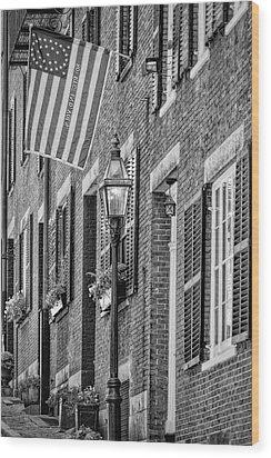 Acorn Street Details Bw Wood Print