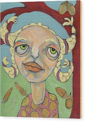 Acorns Wood Print by Michelle Spiziri