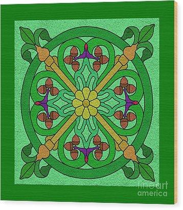 Acorns On Light Green Wood Print