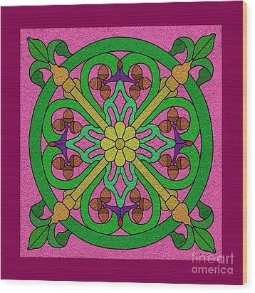 Acorns On Pink Wood Print by Curtis Koontz