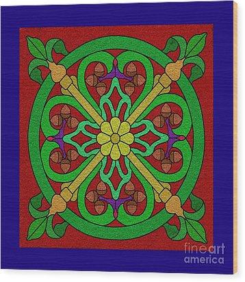 Acorns On Red 2 Wood Print