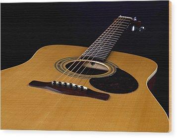 Acoustic Guitar  Black Wood Print by M K  Miller