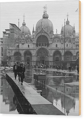 Wood Print featuring the photograph Acqua Alta, Piazza San Marco by Richard Goodrich