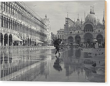 Acqua Alta, Piazza San Marco, Venice, Italy Wood Print by Richard Goodrich