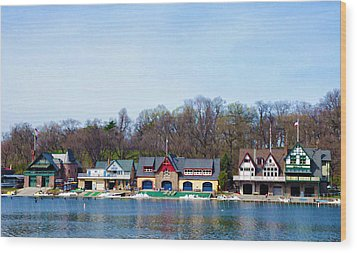 Across From Boathouse Row - Philadelphia Wood Print by Bill Cannon