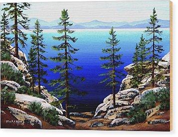 Across Lake Tahoe Wood Print by Frank Wilson