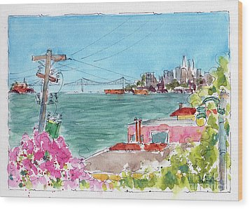 Wood Print featuring the painting Across The Bay From Sausalito by Pat Katz