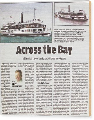 Wood Print featuring the painting Toronto Sun Article Across The Bay by Kenneth M Kirsch