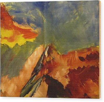 Wood Print featuring the painting Across The Divide by Patricia Cleasby