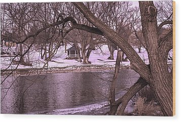 Across The River Wood Print by Anne Witmer