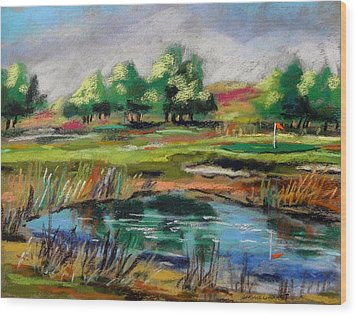 Wood Print featuring the painting Across The Water Hazard by John Williams