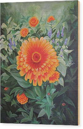 Acrylic Flower Painting - Zoozinnia Wood Print by Avril Whitney